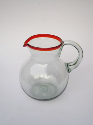 COLORED RIM GLASSWARE / 'Ruby Red Rim' blown glass pitcher